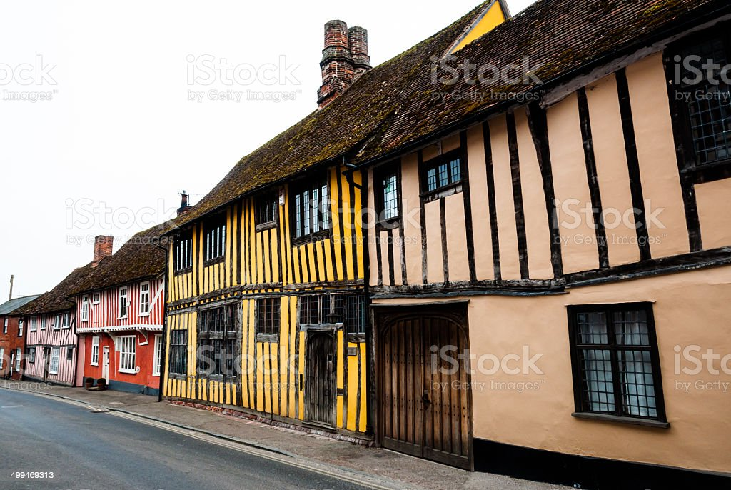 Row of timber framed cottages in Lavenham stock photo