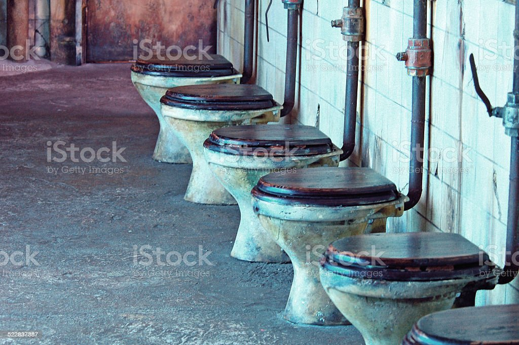 Row Of Toilets On Old Cargo Steam Ship Stock Photo & More Pictures ...