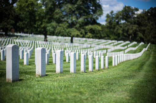 Row of tombstones at Arlington National Cemetery in Washington