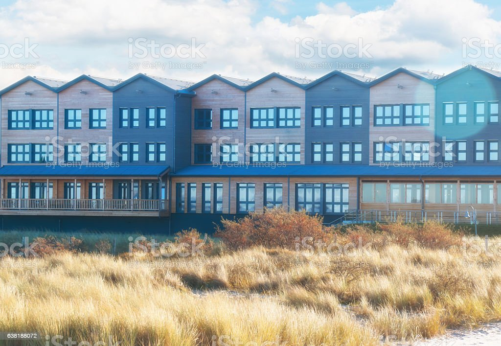 Row of Townhouses at a Beach stock photo