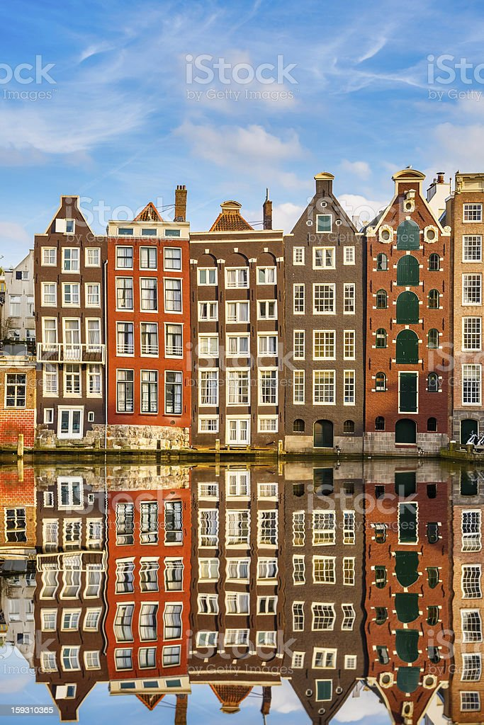 Row of traditional Dutch buildings in Amsterdam stock photo