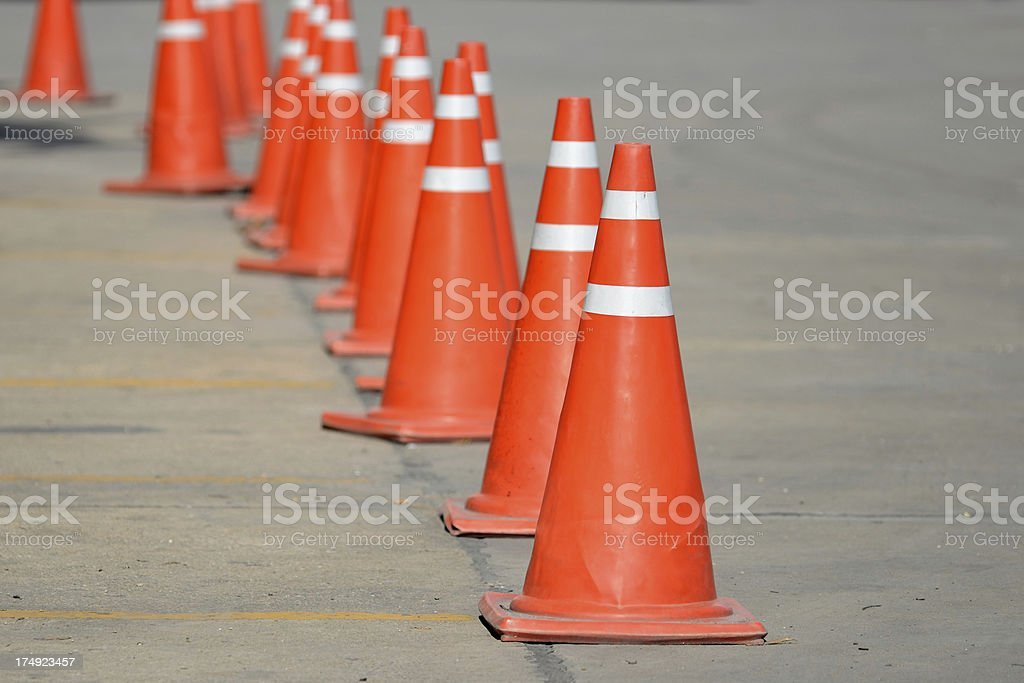 Row of traffic cone royalty-free stock photo