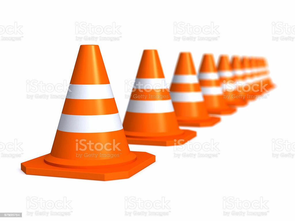 Row of traffic cones royalty-free stock photo