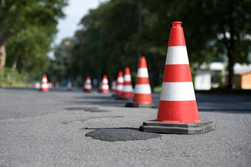 Row of traffic cones - selective focus