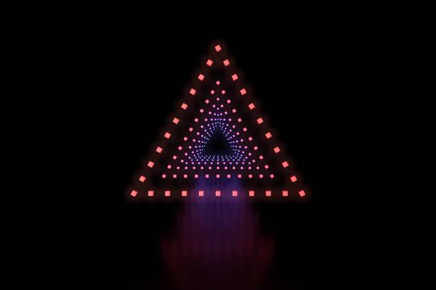 Row of triangles LED light stock photo