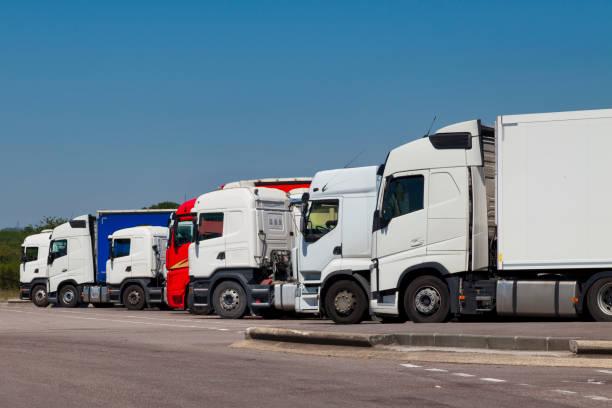 Row of trucks stock photo