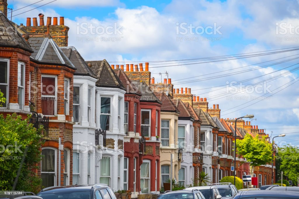 Pleasing A Row Of Typical British Terraced Houses In London Stock Download Free Architecture Designs Scobabritishbridgeorg