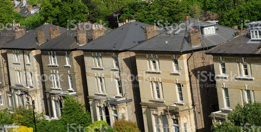 Row of Typical English Terraced Houses in London. stock photo