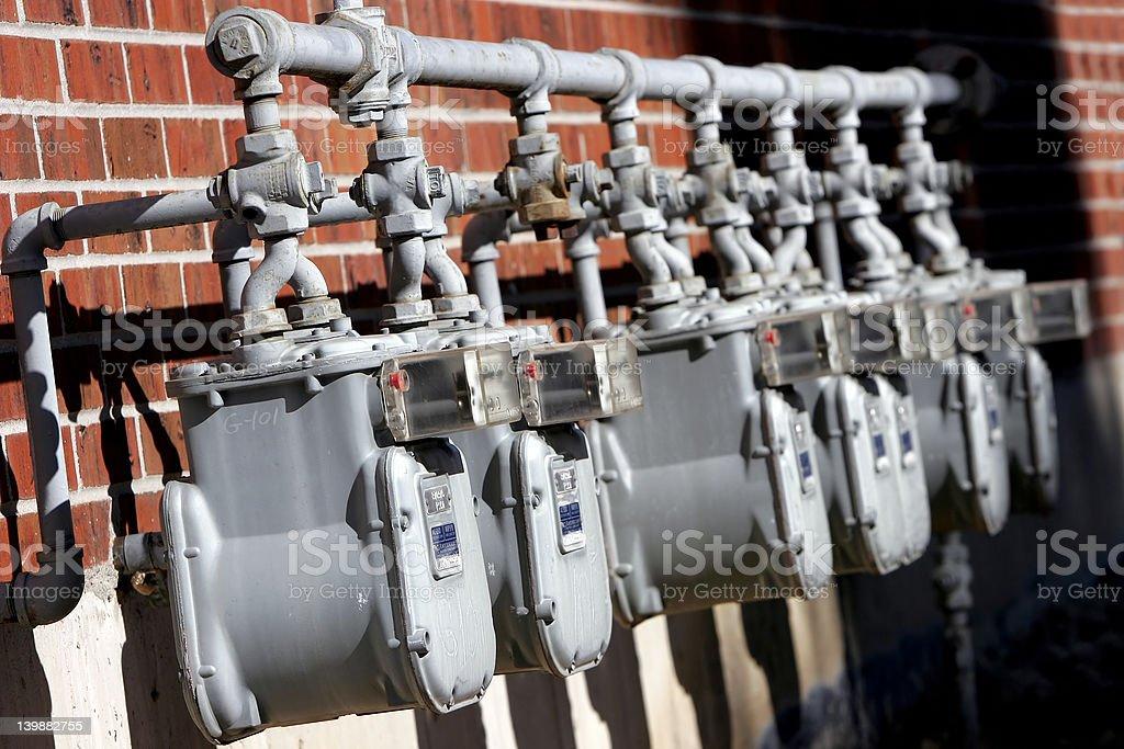 Row of Uitlity Meters stock photo