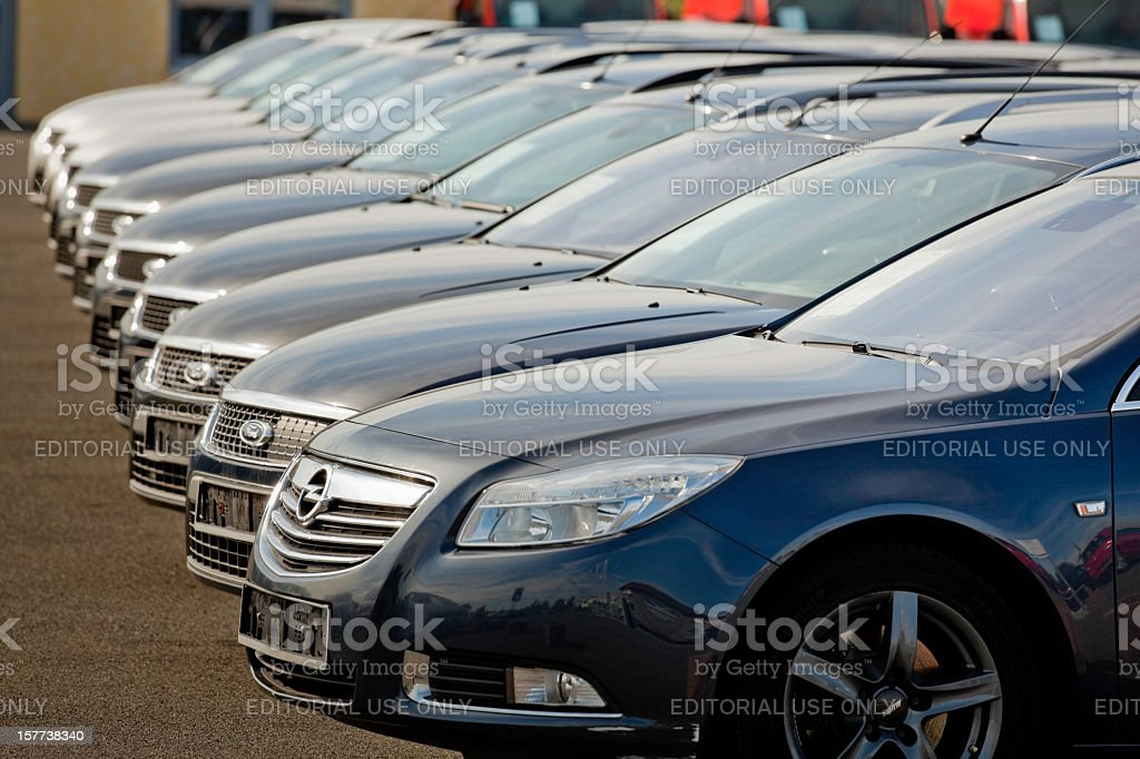 Row of used Ford cars at dealership stock photo