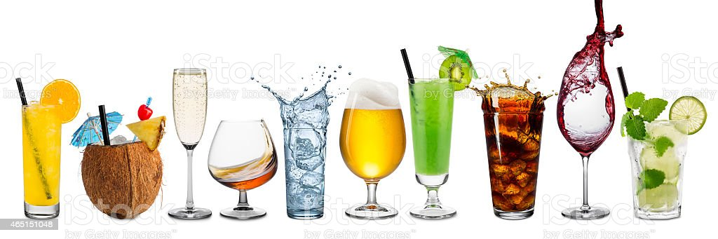 row of various beverages stock photo