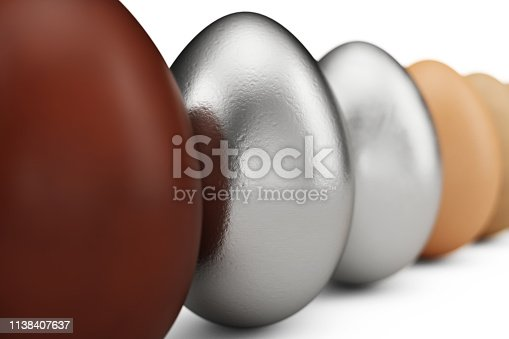 922661892 istock photo Row of various eggs. In focus a silver egg or white matte gold. Unique egg. Happy easter. 3d illustration 1138407637