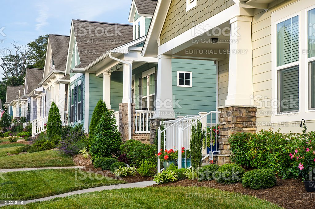 Row Of Victorian Style Homes In A Surburban Neighborhood Royalty Free Stock Photo