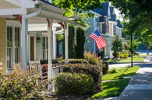 Row of Victorian-style Homes in a Surburban Neighborhood stock photo