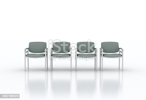 Row of waiting chairs on white background. May be used as doctor office interior illustration.