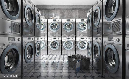 Row of washing machines with laundry in a basket, 3d render
