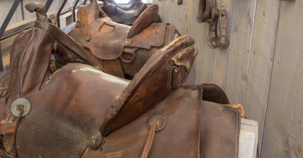 Row Of Western Style Horse Saddle stock photo
