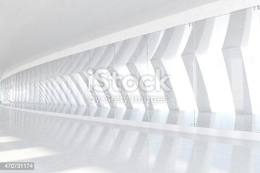 istock Row of white arches with sunlight illuminating futuristic corridor space 470731174