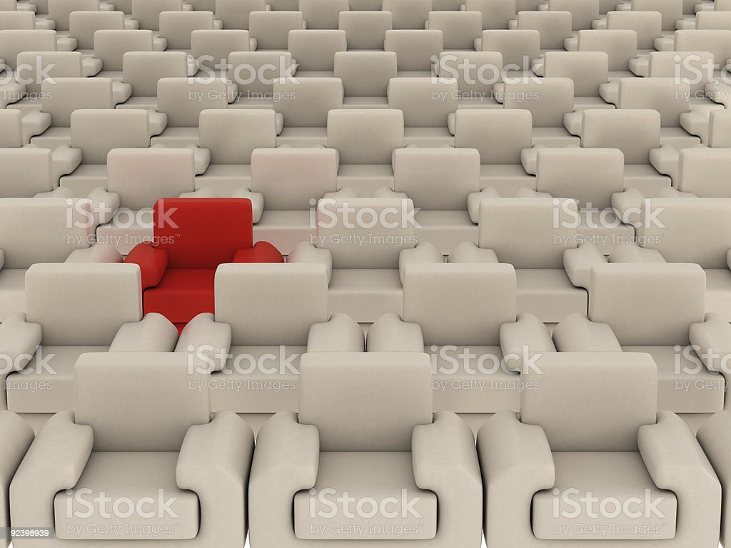 Row of white armchairs and one red. 3D image. royalty-free stock photo