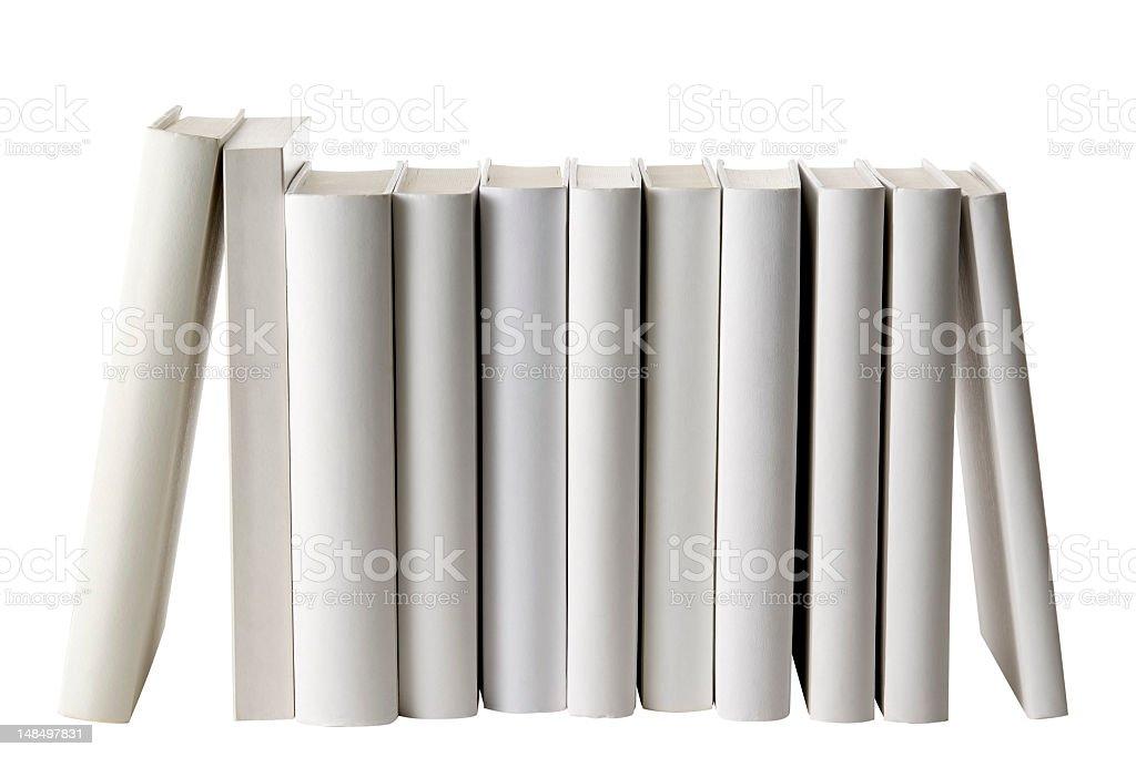 Row of white blank books spine on white background stock photo