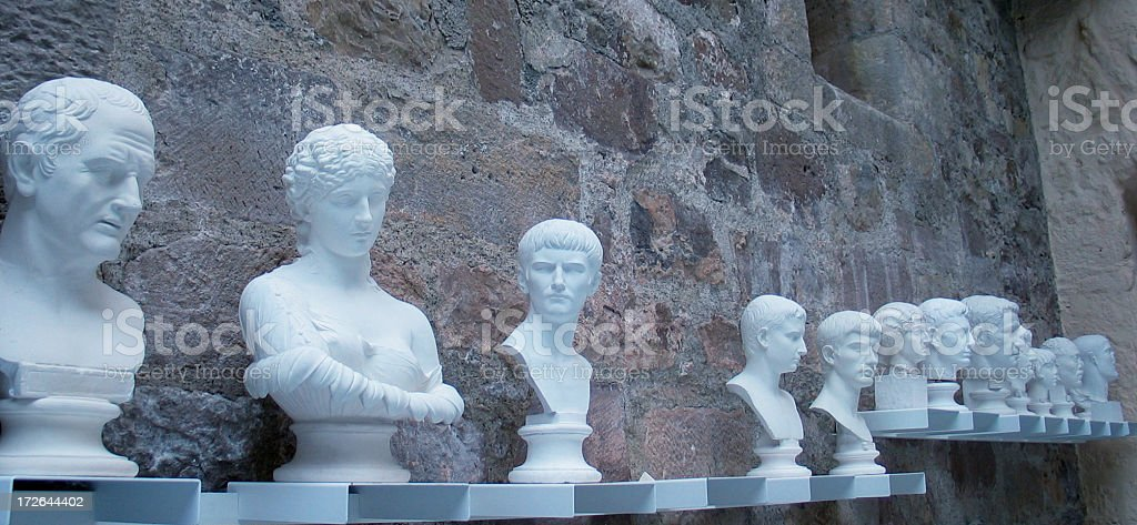 Row of white busts: ancient roman heroes stock photo