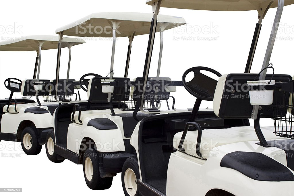 Row of white Golf carts isolated on white background royalty-free stock photo