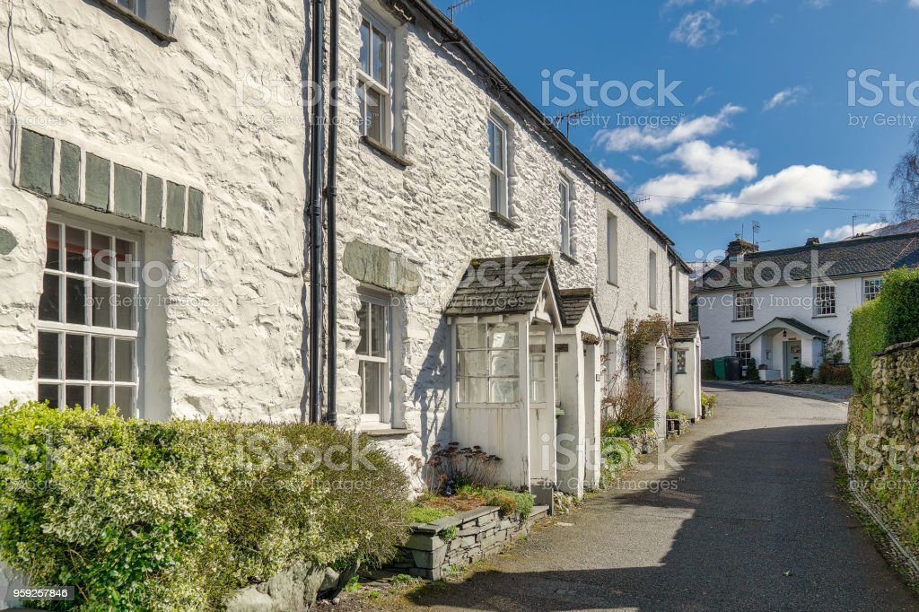 A row of whitewashed cottages in Ambleside, the English Lake Dis stock photo