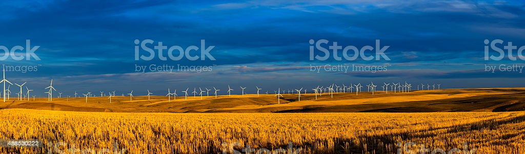 Row of Wind Turbines at dusk Panorama stock photo
