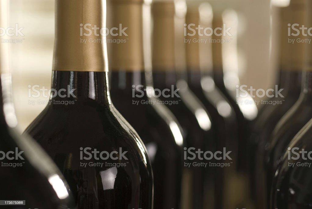 Row of wine bottles royalty-free stock photo