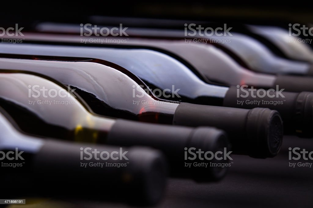 Row of Wine Bottles stock photo