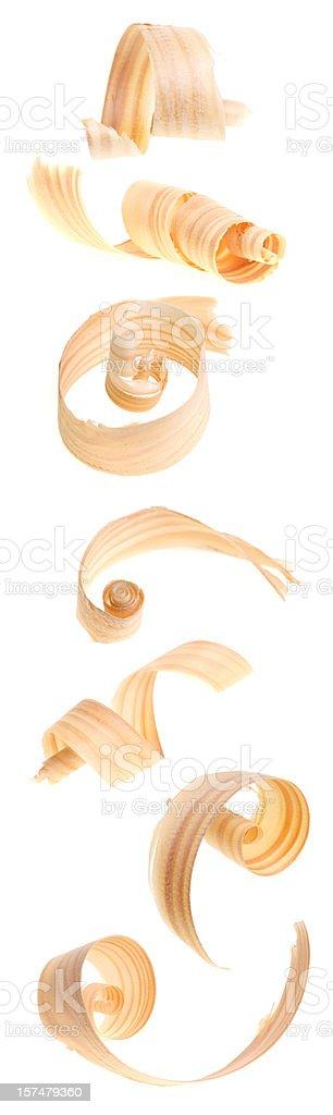 row of wood shavings stock photo