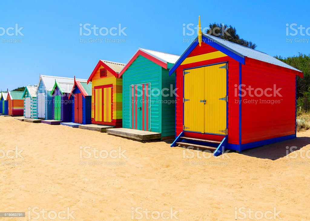 Row Of Wooden Beach Huts stock photo
