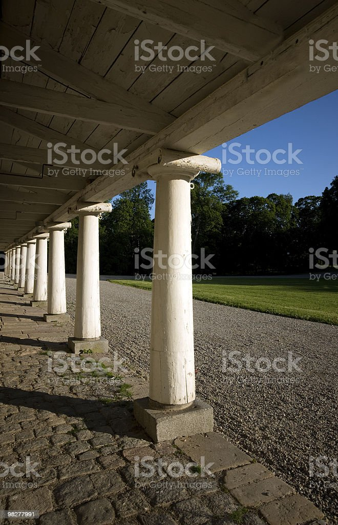 Row of wooden columns royalty-free stock photo