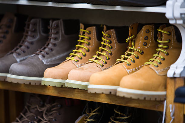 Row of work boots stock photo