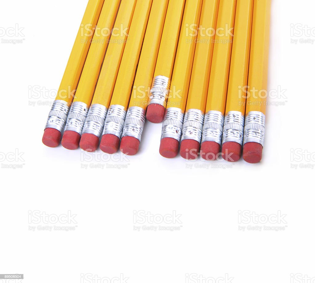 Row of yellow pencils royalty-free stock photo