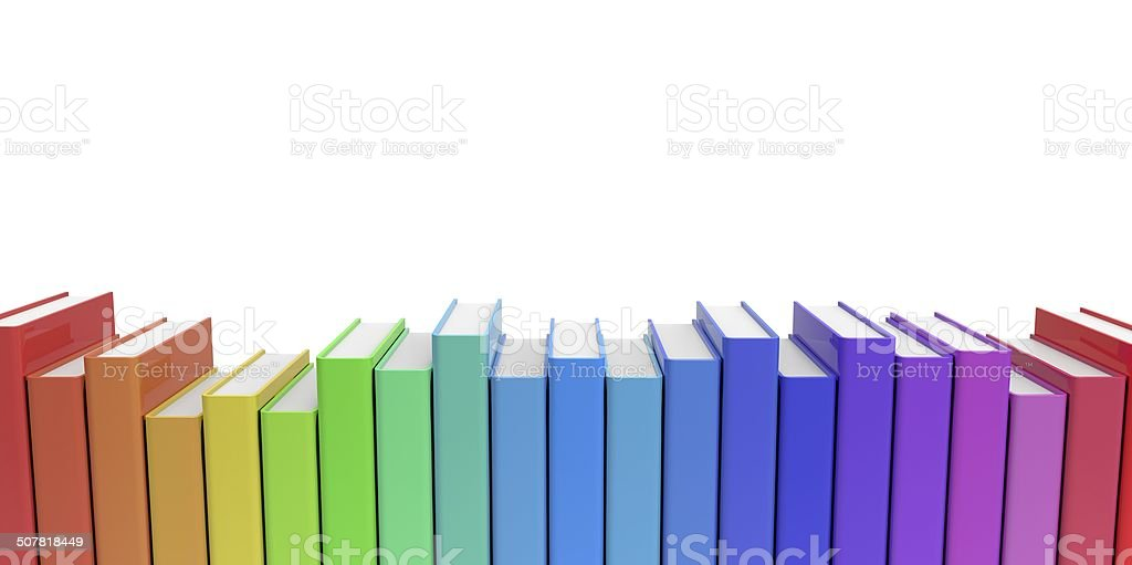 Row Stack Of Colorful Books On A Plain Background Stock Photo & More ...