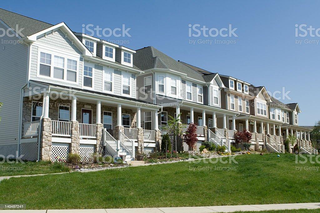 Row Vinyl Siding Single Family Houses Porch Suburban Maryland USA stock photo