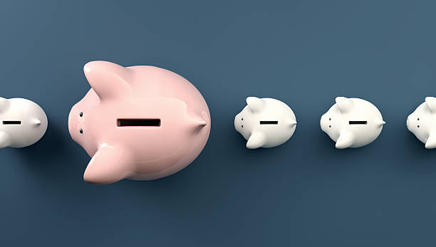 Row with a large piggy bank stock photo
