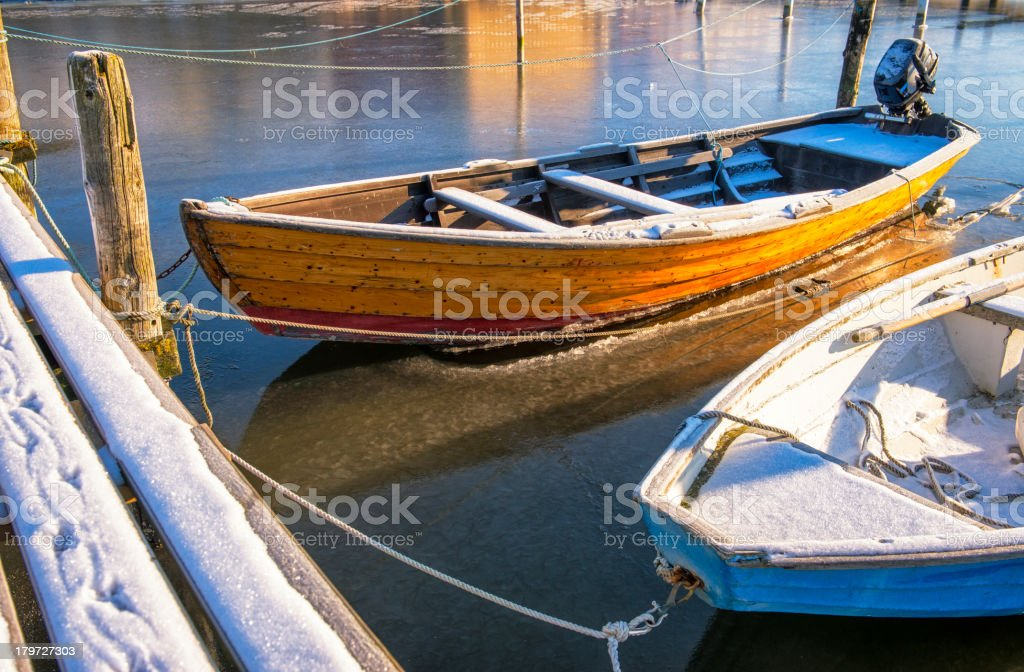 Rowboat in ice royalty-free stock photo