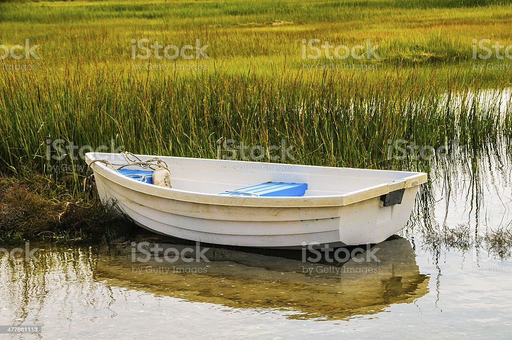 Rowboat in the Reeds royalty-free stock photo