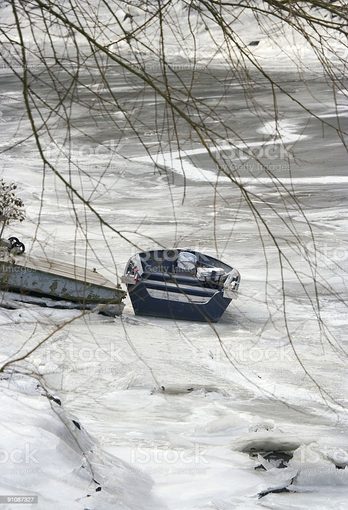 Rowboat in Winter Series royalty-free stock photo