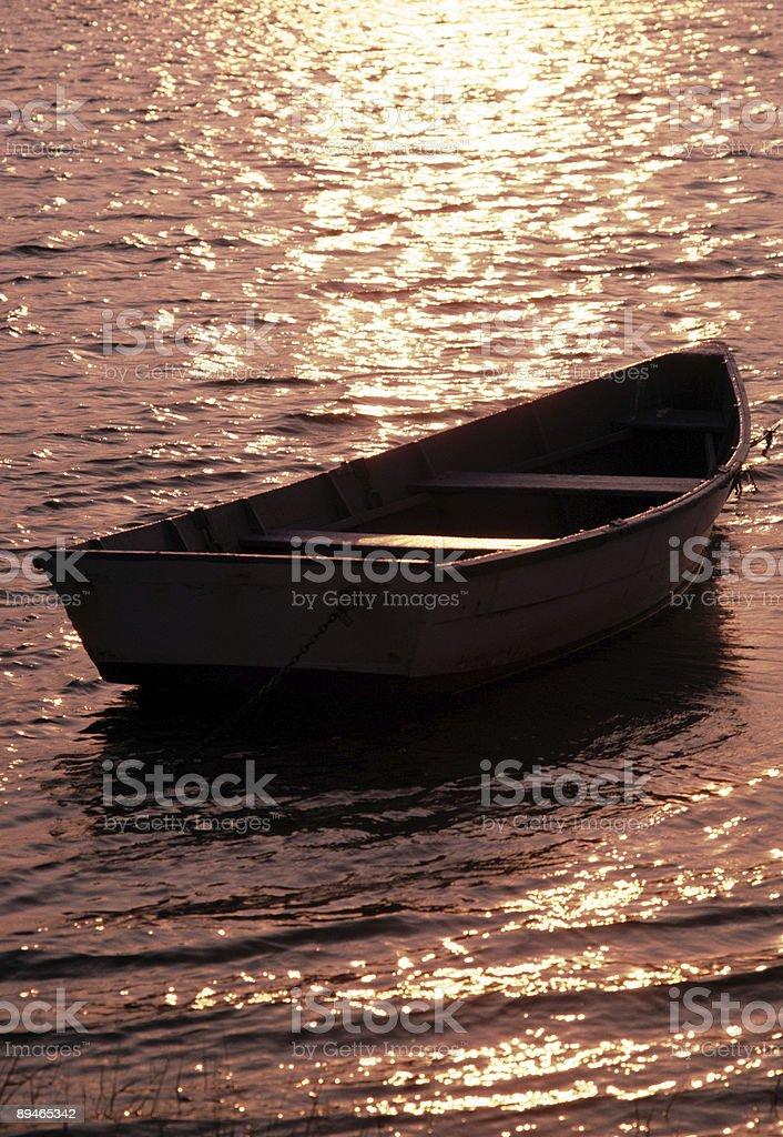 rowboat on the bay royalty-free stock photo