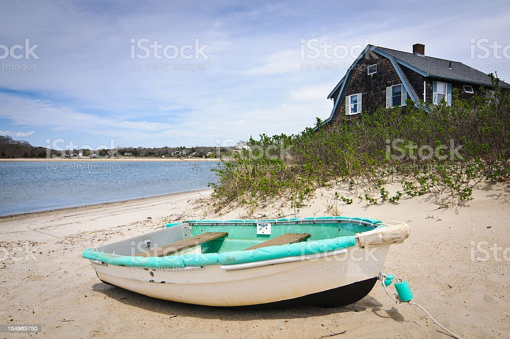 Rowboat on the Beach stock photo