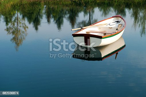A rowboat on a little lake