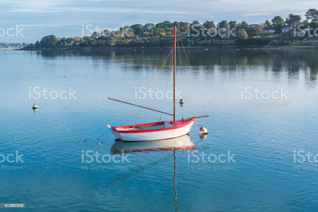 Rowboat, white and red boat stock photo