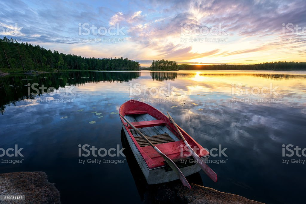 Rowboat With Stunning Sunset stock photo