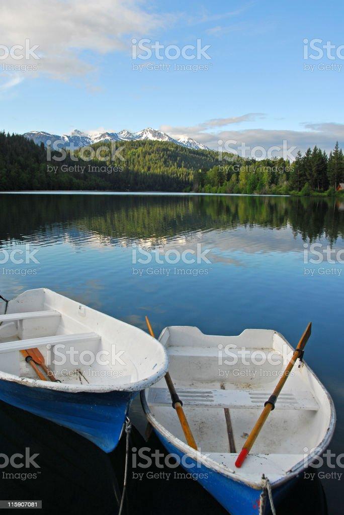 Rowboats moored in Tyaughton Lake,British Columbia,Canada royalty-free stock photo