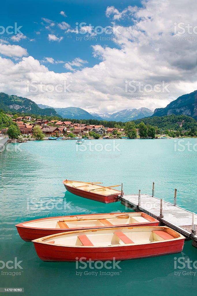 Rowboats on Lake Brienz, Berne Canton, Switzerland royalty-free stock photo