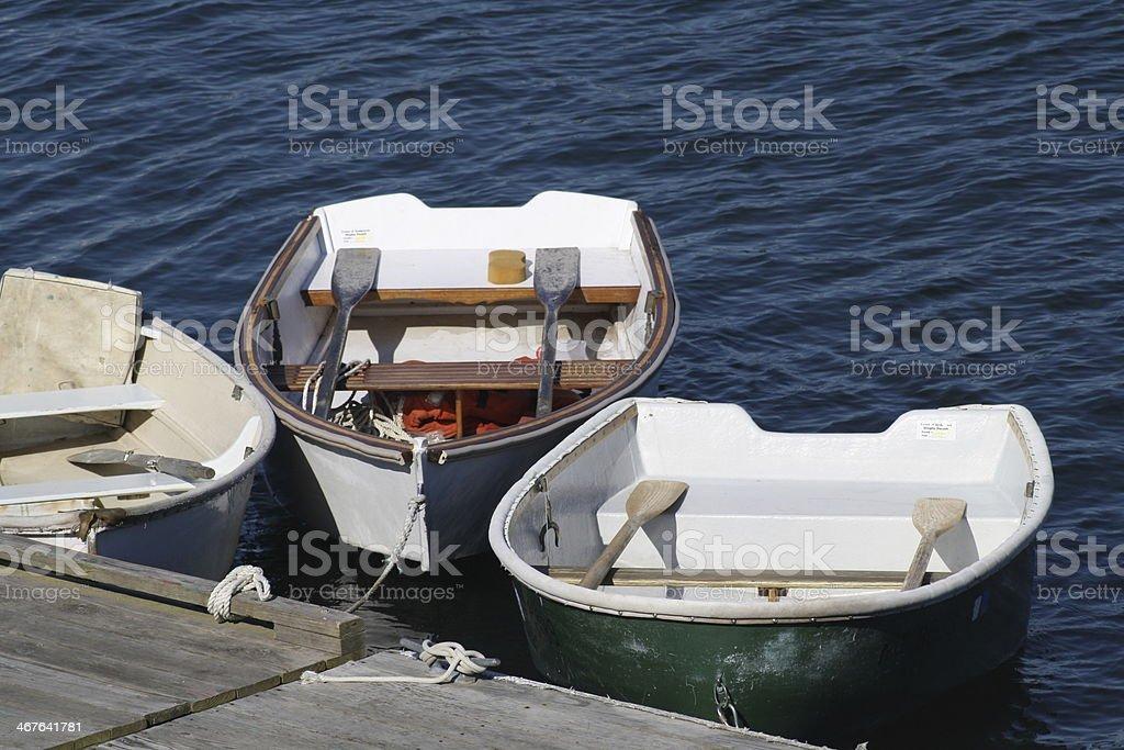 Rowboats Tied at Town Dock royalty-free stock photo