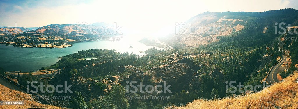 Rowena crest curve road in Oregon and panoramic view stock photo